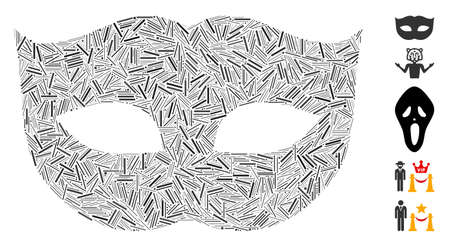 Hatch mosaic privacy mask icon united from narrow elements in different sizes and color hues. Vector hatch elements are united into abstract collage privacy mask icon. Bonus icons are placed. Illustration