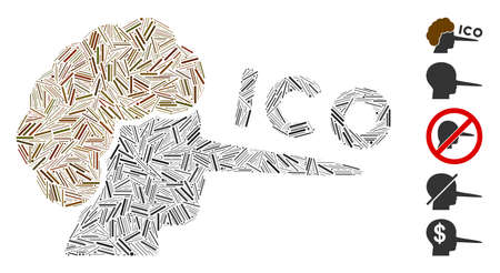 Linear mosaic ICO liar icon composed of narrow elements in various sizes and color hues. Vector hatch elements are composed into abstract mosaic ICO liar icon. Bonus pictograms are placed.