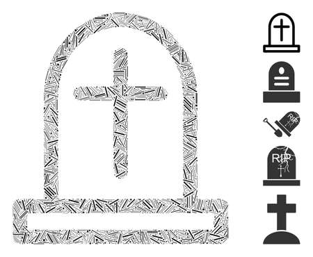 Linear mosaic tombstone icon organized from narrow items in different sizes and color hues. Vector linear items are combined into abstract mosaic tombstone icon. Bonus pictograms are placed. 일러스트