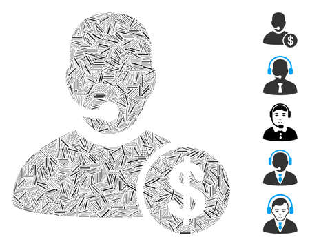 Line collage bank call center icon united from straight items in random sizes and color hues. Vector line items are composed into abstract illustration bank call center icon. Bonus icons are added.