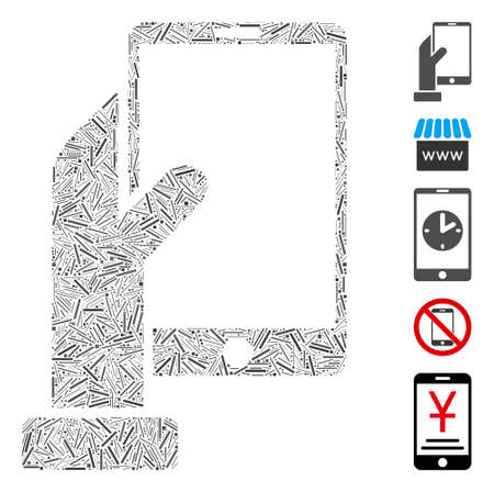Linear collage hand holds smartphone icon composed of straight elements in various sizes and color hues. Vector line elements are combined into abstract collage hand holds smartphone icon.
