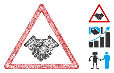 Mesh handshake warning polygonal web icon vector illustration. Carcass model is based on handshake warning flat icon. Triangular mesh forms abstract handshake warning flat model.