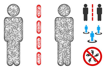 Mesh social isolation polygonal web 2d vector illustration. Carcass model is based on social isolation flat icon. Triangle net forms abstract social isolation flat carcass.