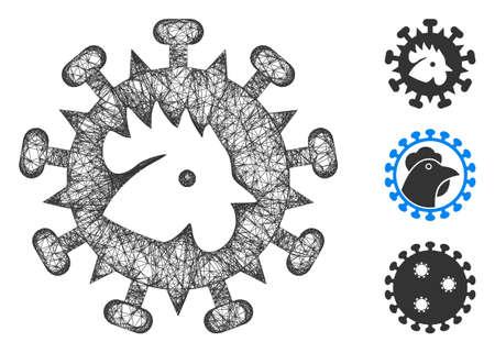 Mesh bird flu virus polygonal web 2d vector illustration. Model is based on bird flu virus flat icon. Triangle network forms abstract bird flu virus flat model.