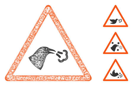 Mesh bird flu warning polygonal web icon vector illustration. Carcass model is based on bird flu warning flat icon. Triangle mesh forms abstract bird flu warning flat carcass.