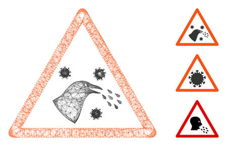 Mesh bird infection warning polygonal web symbol vector illustration. Model is created from bird infection warning flat icon. Triangle network forms abstract bird infection warning flat model.