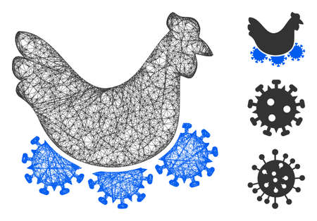 Mesh chicken virus polygonal web symbol vector illustration. Carcass model is based on chicken virus flat icon. Triangle mesh forms abstract chicken virus flat model.