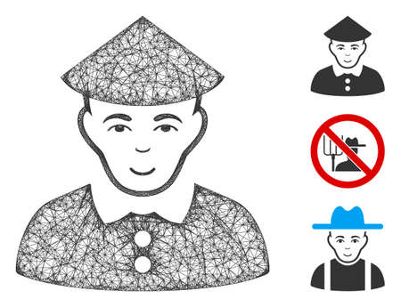 Mesh chinese farmer polygonal web symbol vector illustration. Carcass model is based on chinese farmer flat icon. Triangle network forms abstract chinese farmer flat model.