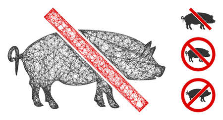 Mesh forbidden pork polygonal web icon vector illustration. Model is based on forbidden pork flat icon. Triangular mesh forms abstract forbidden pork flat model. Illustration