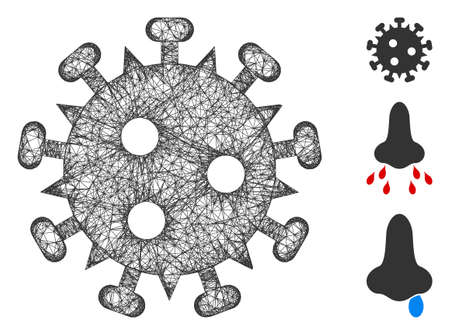 Mesh HIV virus polygonal web icon vector illustration. Model is based on HIV virus flat icon. Triangular mesh forms abstract HIV virus flat model. 向量圖像