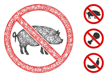Mesh stop pig polygonal web icon vector illustration. Carcass model is based on stop pig flat icon. Triangular network forms abstract stop pig flat carcass.