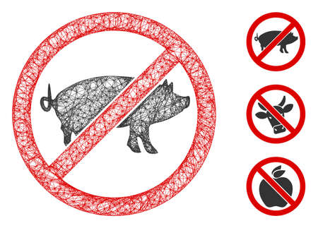 Mesh stop swine polygonal web 2d vector illustration. Carcass model is based on stop swine flat icon. Triangle network forms abstract stop swine flat model.