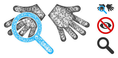 Mesh hands tranparency polygonal web icon vector illustration. Carcass model is based on hands tranparency flat icon. Triangle network forms abstract hands tranparency flat carcass.