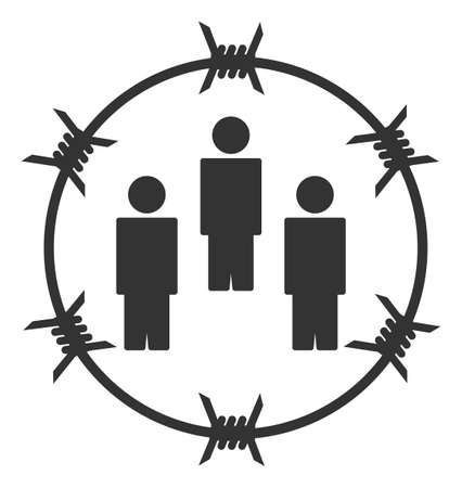 Vector barbed wire people flat icon. Vector pictograph style is a flat symbol barbed wire people icon on a white background.