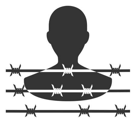 Vector barbed wire prisoner flat icon. Vector pictograph style is a flat symbol barbed wire prisoner icon on a white background. Illustration