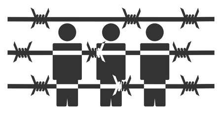 Vector barbed wire prisoners flat icon. Vector pictogram style is a flat symbol barbed wire prisoners icon on a white background.