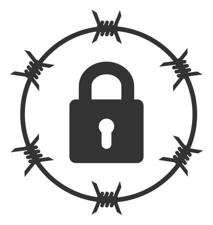 Vector barbed wire lock flat icon. Vector pictogram style is a flat symbol barbed wire lock icon on a white background.