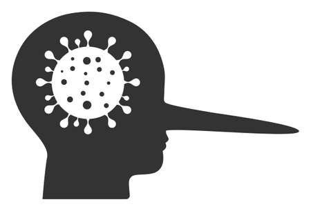 Vector coronavirus liar flat icon. Vector pictograph style is a flat symbol coronavirus liar icon on a white background.