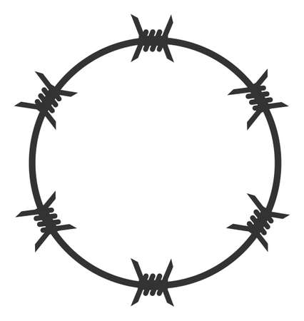 Vector barbed wire circle flat icon. Vector pictograph style is a flat symbol barbed wire circle icon on a white background.