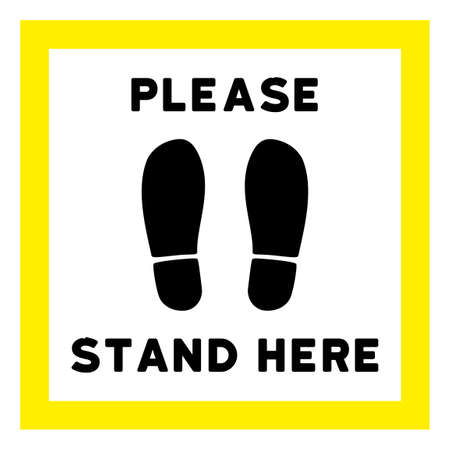 Vector please stand here flat icon. Vector pictogram style is a flat symbol please stand here icon on a white background.