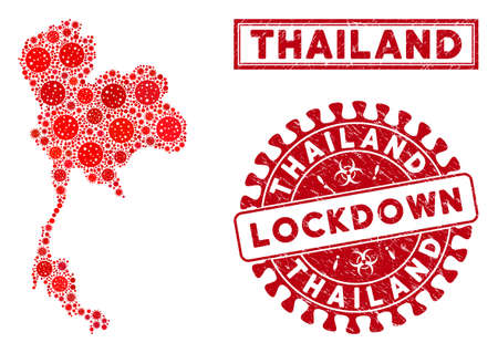 Covid-2019 virus collage Thailand map and stamps. Red rounded lockdown scratched watermark. Vector covid infection icons are organized into composition Thailand map. Vector composition for lockdown,