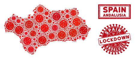 Flu virus collage Andalusia Province map and seal stamps. Red round lockdown grunge seal. Vector coronavirus pathogen icons are composed into illustration Andalusia Province map.