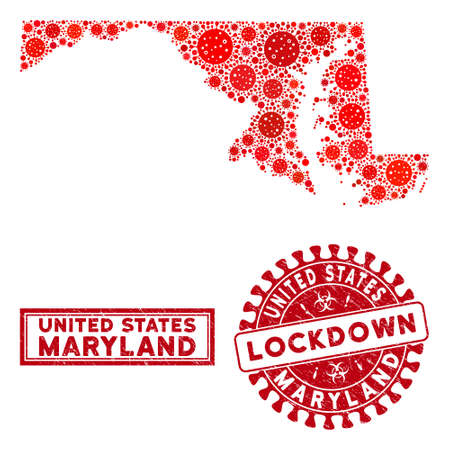 Coronavirus collage Maryland State map and stamps. Red rounded lockdown distress seal. Vector coronavirus infection parts are arranged into collage Maryland State map. Vector combination for lockdown, Illustration