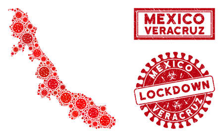 Covid-2019 virus mosaic Veracruz State map and watermarks. Red rounded lockdown grunge seal stamp. Vector covid viral icons are united into mosaic Veracruz State map. Vector collage for lockdown,
