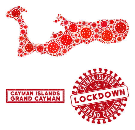 Covid-2019 virus mosaic Grand Cayman Island map and rubber prints. Red rounded lockdown distress seal. Vector covid infection elements are composed into mosaic Grand Cayman Island map.