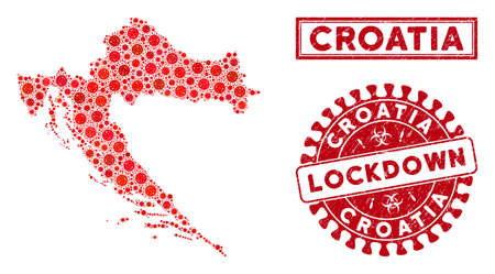 Covid-2019 virus mosaic Croatia map and stamps. Red round lockdown scratched seal. Vector covid pathogen items are composed into mosaic Croatia map. Vector combination for lockdown,
