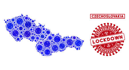 Coronavirus collage Czechoslovakia map and watermarks. Red round lockdown distress seal. Vector coronavirus viral elements are grouped into illustration Czechoslovakia map. Ilustração