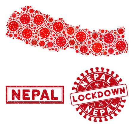 Covid-2019 virus collage Nepal map and seal stamps. Red round lockdown distress seal. Vector coronavirus infection elements are combined into collage Nepal map. Vector combination for lockdown,  イラスト・ベクター素材