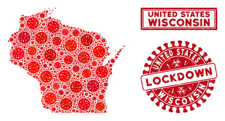 Coronavirus mosaic Wisconsin State map and watermarks. Red round lockdown grunge seal. Vector coronavirus viral items are composed into mosaic Wisconsin State map. Vector composition for lockdown, Ilustração