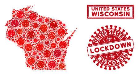 Coronavirus mosaic Wisconsin State map and watermarks. Red round lockdown grunge seal. Vector coronavirus viral items are composed into mosaic Wisconsin State map. Vector composition for lockdown, Иллюстрация