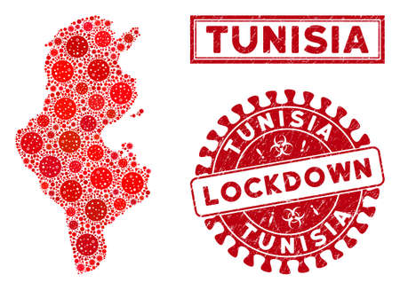 Covid-2019 virus collage Tunisia map and watermarks. Red rounded lockdown textured seal stamp. Vector covid viral icons are united into composition Tunisia map. Vector collage for lockdown, Illustration
