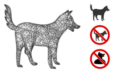 Mesh dog polygonal web 2d vector illustration. Carcass model is based on dog flat icon. Triangular network forms abstract dog flat model.