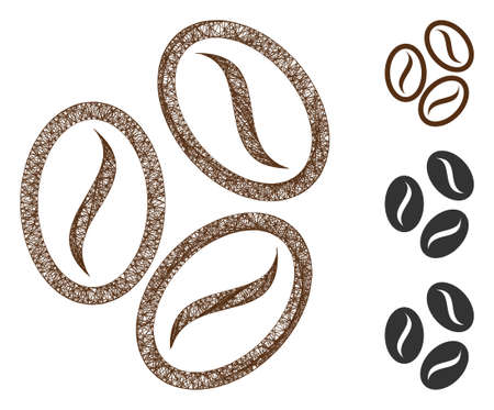 Mesh cacao beans polygonal web 2d vector illustration. Carcass model is based on cacao beans flat icon. Triangle network forms abstract cacao beans flat model.