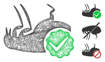 Mesh flea control polygonal web icon vector illustration. Model is based on flea control flat icon. Triangular network forms abstract flea control flat model. Vector Illustration