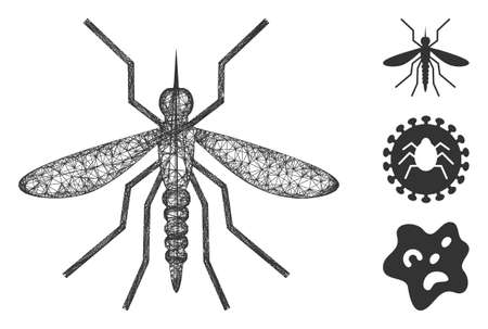 Mesh mosquito polygonal web icon vector illustration. Abstraction is based on mosquito flat icon. Triangular network forms abstract mosquito flat model.