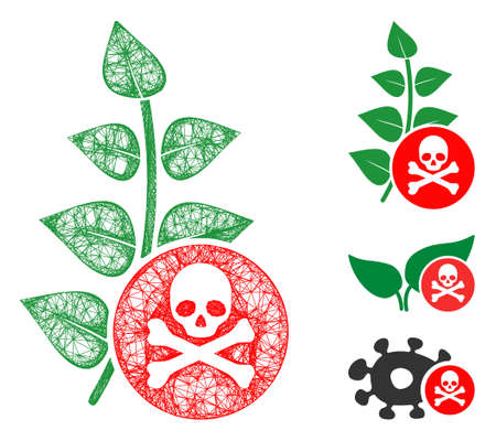 Mesh herbicide toxin polygonal web 2d vector illustration. Model is based on herbicide toxin flat icon. Triangular mesh forms abstract herbicide toxin flat model.  イラスト・ベクター素材