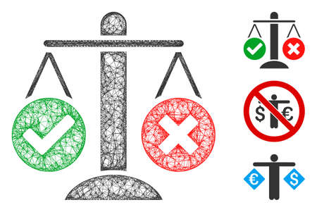 Mesh truth decision polygonal web 2d vector illustration. Model is based on truth decision flat icon. Triangle mesh forms abstract truth decision flat carcass.