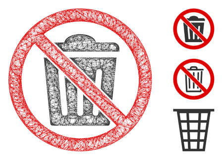 Mesh no trash can polygonal web icon vector illustration. Model is based on no trash can flat icon. Triangle network forms abstract no trash can flat model.