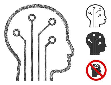 Mesh artificial intelligence polygonal web symbol vector illustration. Carcass model is based on artificial intelligence flat icon.