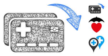 Mesh medical insurance cards transfer polygonal web icon vector illustration. Model is based on medical insurance cards transfer flat icon.