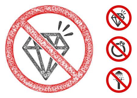 Mesh no brilliant polygonal web symbol vector illustration. Model is based on no brilliant flat icon. Triangular mesh forms abstract no brilliant flat model. 일러스트