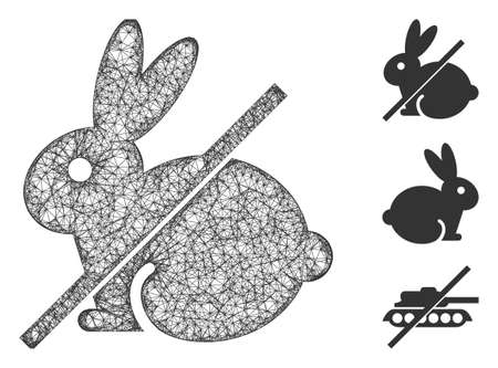Mesh no rabbit polygonal web symbol vector illustration. Carcass model is based on no rabbit flat icon. Triangle network forms abstract no rabbit flat carcass.
