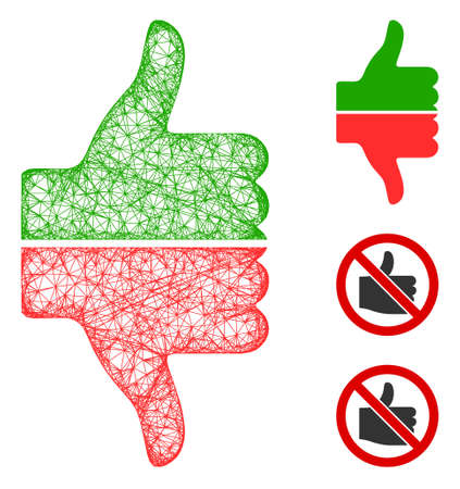 Mesh yes no gesture polygonal web 2d vector illustration. Carcass model is based on yes no gesture flat icon. Triangular network forms abstract yes no gesture flat carcass.