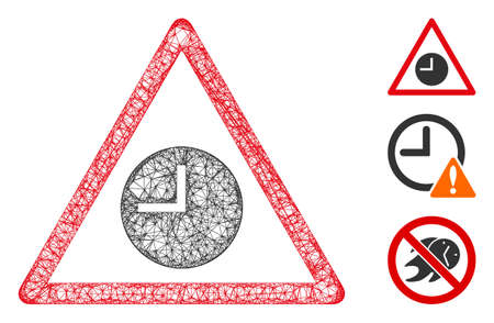 Mesh expired warning polygonal web icon vector illustration. Carcass model is created from expired warning flat icon. Triangle mesh forms abstract expired warning flat carcass.
