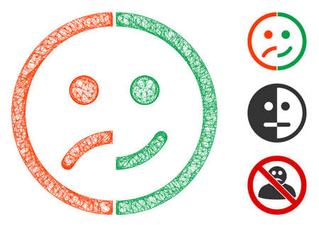Mesh bipolar emotion polygonal web icon vector illustration. Carcass model is based on bipolar emotion flat icon. Triangular network forms abstract bipolar emotion flat model.