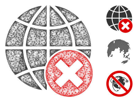 Mesh stop globalization polygonal web symbol vector illustration. Carcass model is based on stop globalization flat icon. Triangle network forms abstract stop globalization flat carcass. Illustration